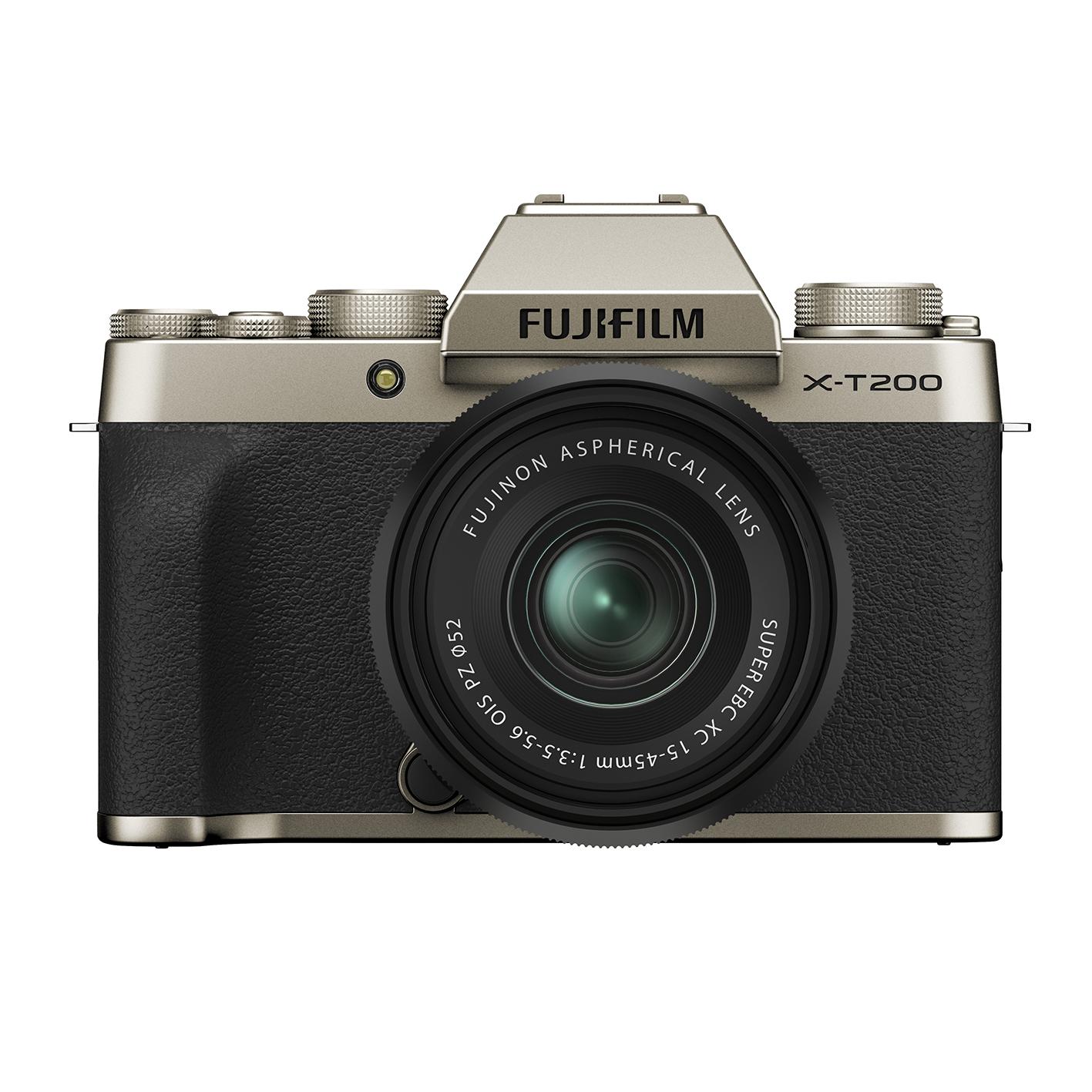 Die Fujifilm X-T200 (hier abgebildet in der Farbausführung Champagnergold) bietet 4K-Video und einen großen Touchscreen-Monitor.
