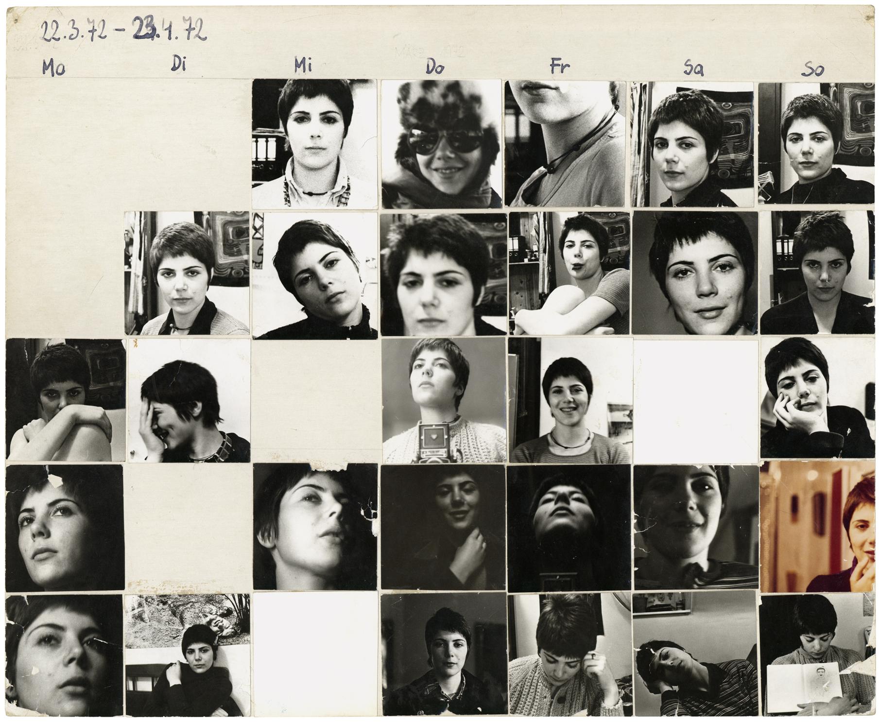 """Friedl Kubelka: """"Das erste Jahresportrait (Teil 1 von 11 Teilen)"""",1972/73; Schwarz-Weiß- und Farbfotografien, kaschiert auf Karton"""