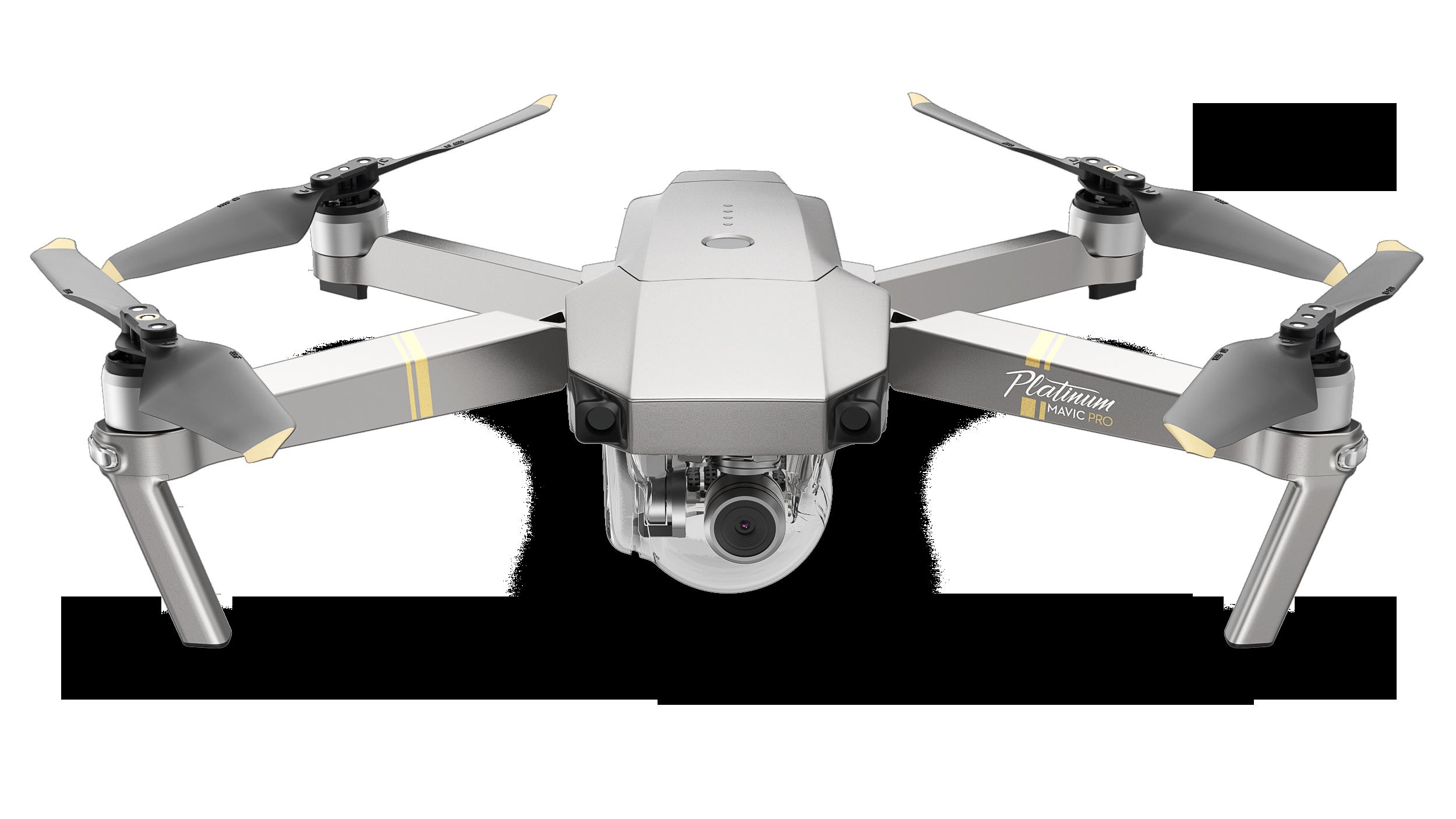 Einer der bekanntesten Drohnenhersteller ist die chinesische Firma DJI, im Bild die Mavic Pro Platinum mit einem 1/2,3-Zoll-Sensor und 12,35 Megapixel Auflösung; das DJI-Consumer-Flaggschiff für Luftbildfotografie ist die Mavic 2 mit einer 20 Megapixelkamera und einem 1-Zoll-Sensor.