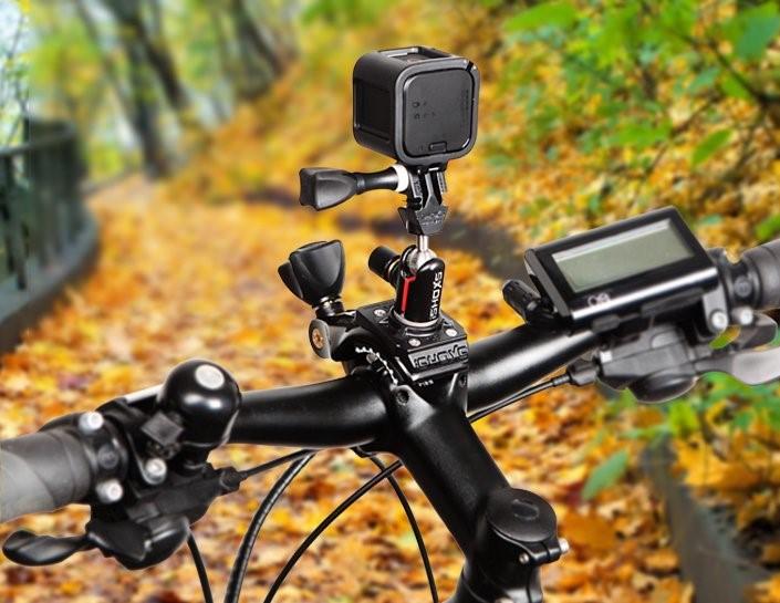 Eine naheliegende Anwendung der Cobra-Pro-Actioncam-Halterung ist die Befestigung am (Mountain-)Bike.