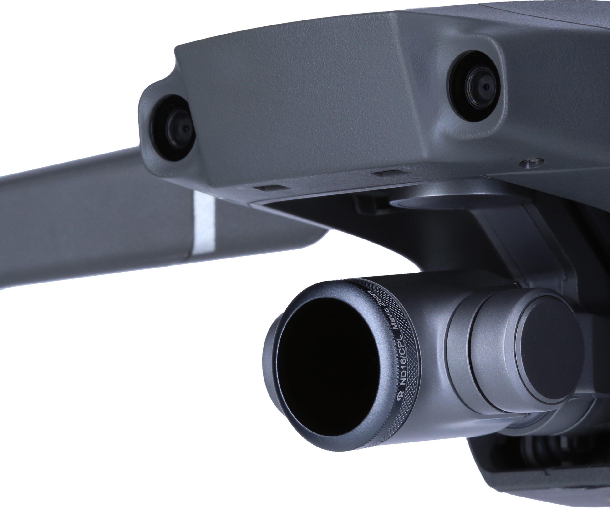 Die neuen Drohnenfilter von Rollei kommen in Form von je drei Filtersets für vier verschiedene Modelle des Herstellers DJI. Hier eine Drohnenkamera mit montiertem Filter.