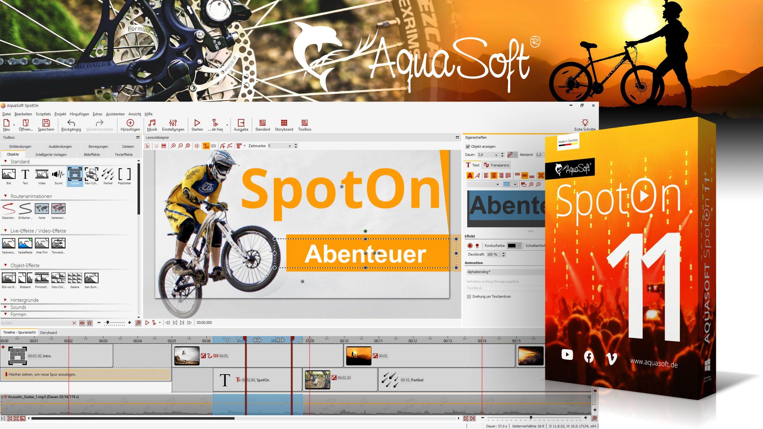 AquaSoft SpotOn 11 ist eine kostenlose Videoschnitt-Software zum unkomplizierten Bearbeiten und Teilen bei Instagram, YouTube, Facebook & Co.