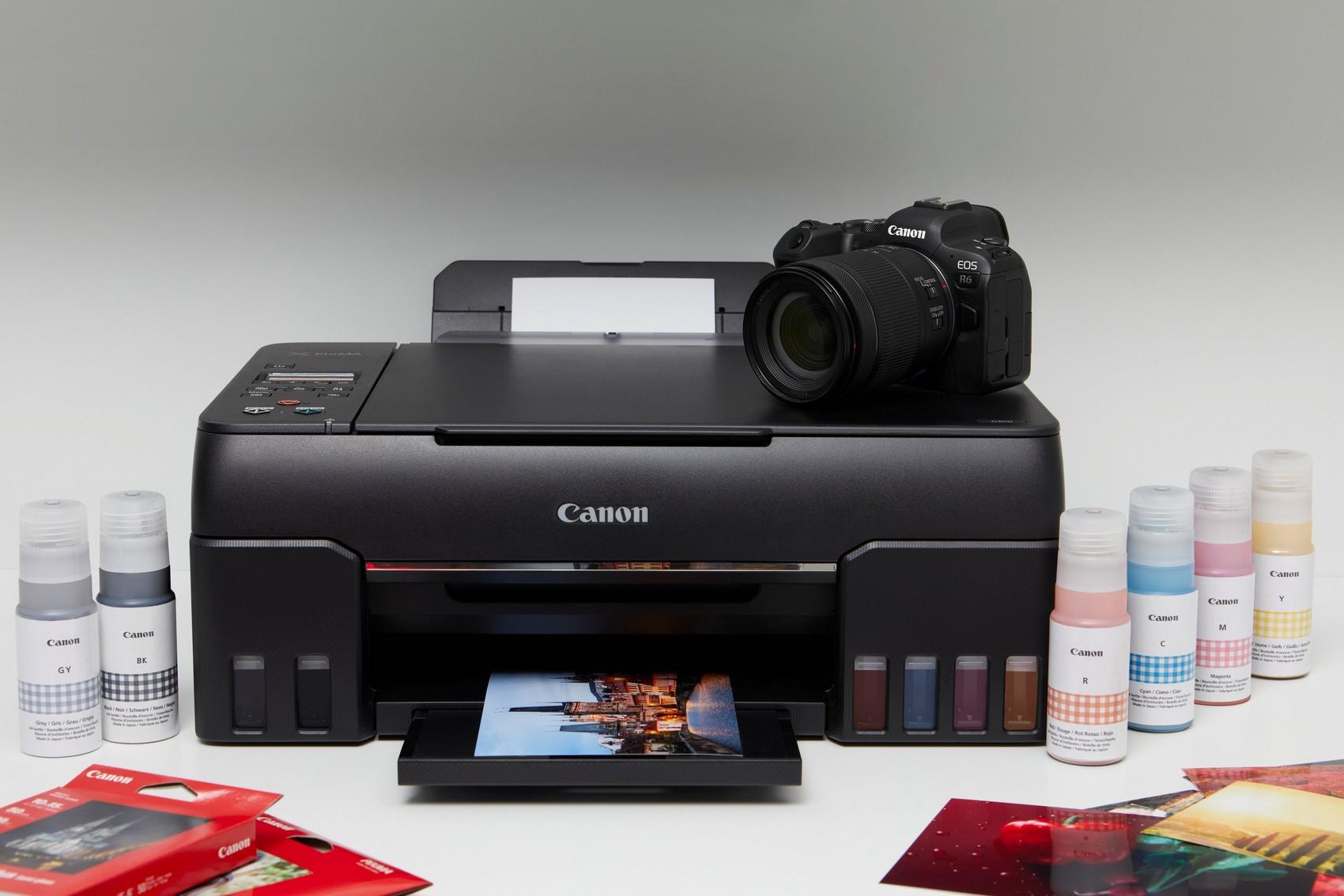 Im Unterschied zum PIXMA G550 kann der hier abgebildete PIXMA G650 nicht nur Fotos drucken (auch kabellos), sondern auch scannen und kopieren. (c) Canon
